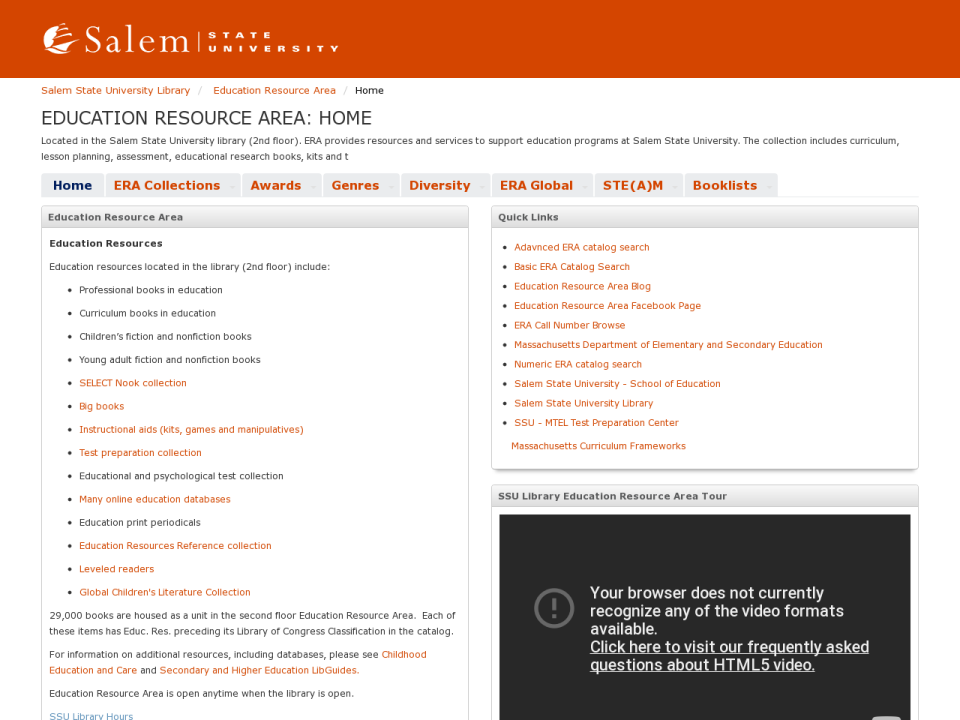 screenshot of ERA webpage